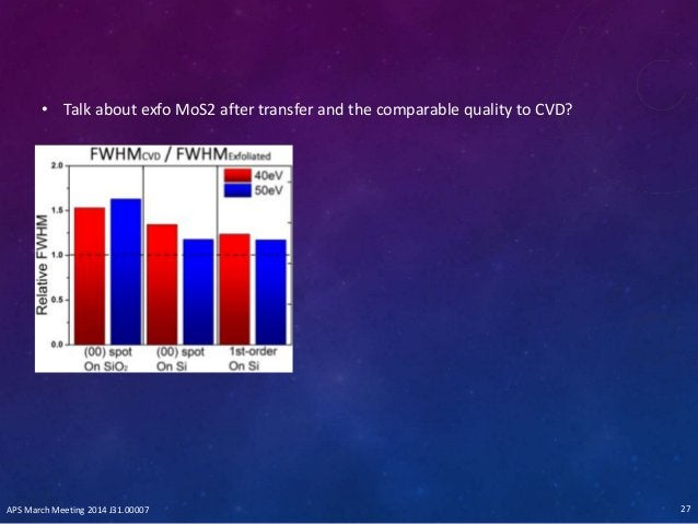 • Talk about exfo MoS2 after transfer and the comparable quality to CVD? APS March Meeting 2014 J31.00007 27