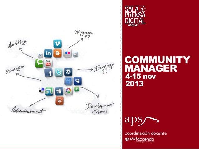 COMMUNITY MANAGER 4-15 nov 2013  coordinación docente