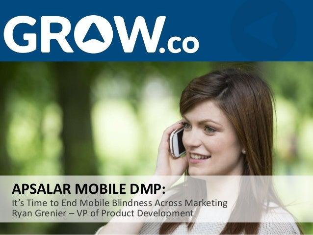 It's Time to End Mobile Blindness Across Marketing Ryan Grenier – VP of Product Development APSALAR MOBILE DMP: