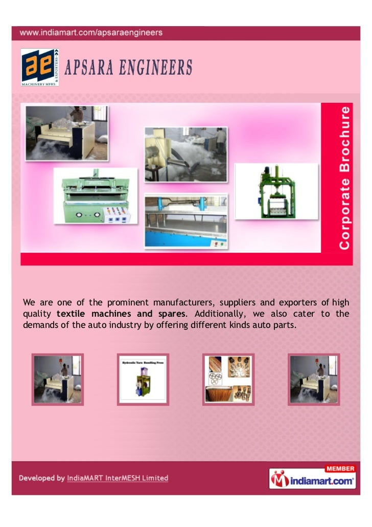 We are one of the prominent manufacturers, suppliers and exporters of highquality textile machines and spares. Additionall...