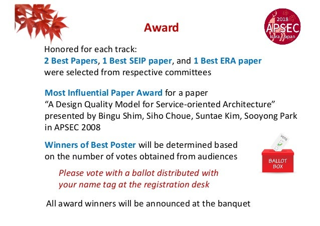 Award Honored for each track: 2 Best Papers, 1 Best SEIP paper, and 1 Best ERA paper were selected from respective committ...