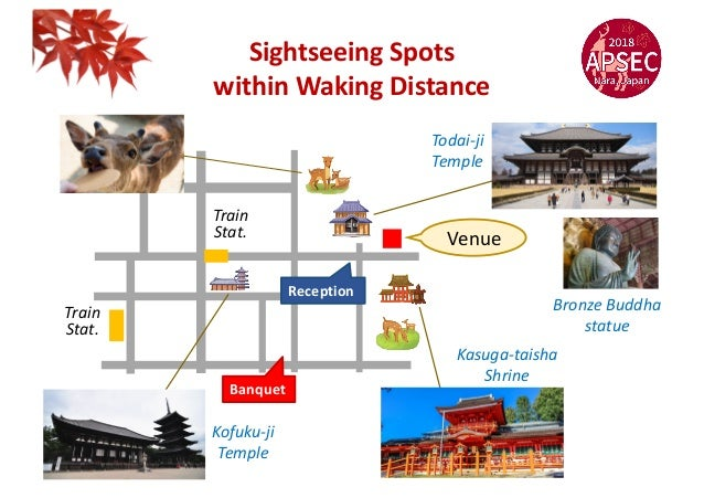 Sightseeing Spots within Waking Distance Kofuku-ji Temple Bronze Buddha statue Todai-ji Temple Venue Kasuga-taisha Shrine ...
