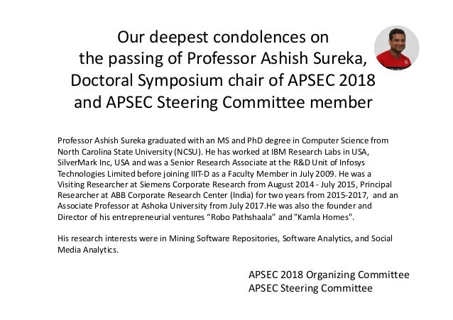 Professor Ashish Sureka graduated with an MS and PhD degree in Computer Science from North Carolina State University (NCSU...