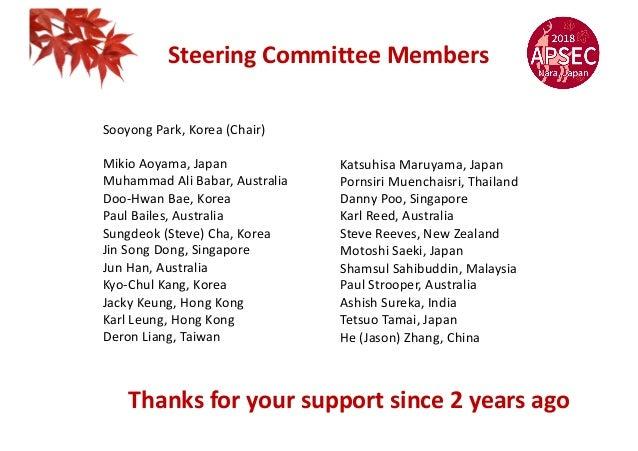 Steering Committee Members Sooyong Park, Korea (Chair) Mikio Aoyama, Japan Muhammad Ali Babar, Australia Doo-Hwan Bae, Kor...