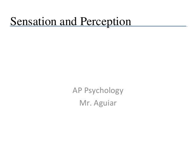 Sensation and Perception  AP Psychology Mr. Aguiar