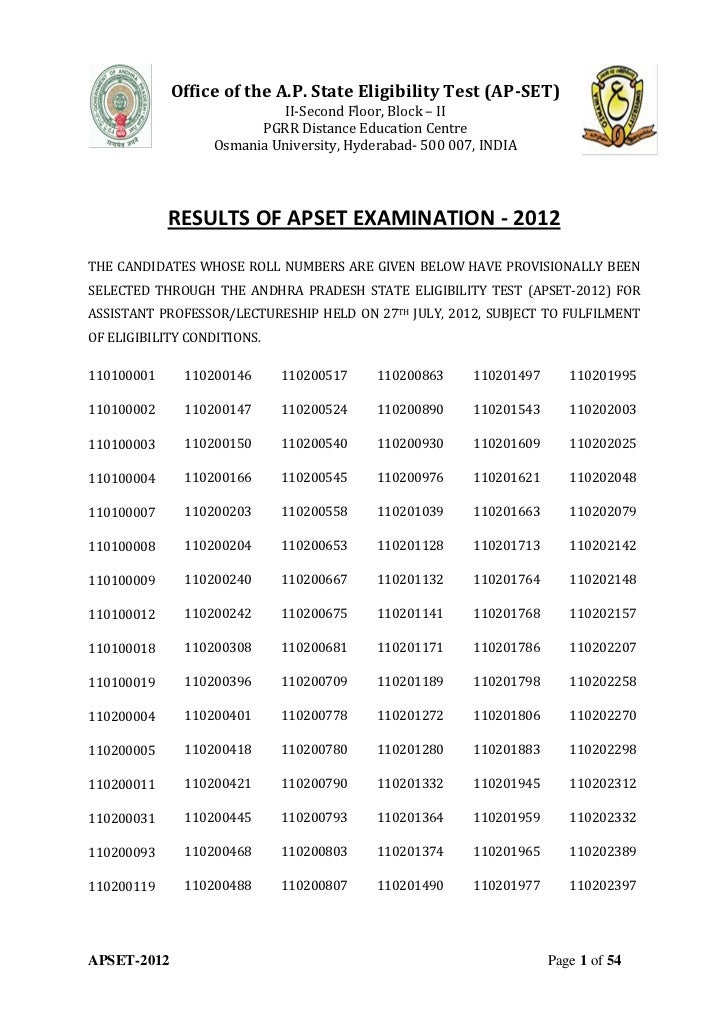 Office of the A.P. State Eligibility Test (AP-SET)                           II-Second Floor, Block – II                  ...