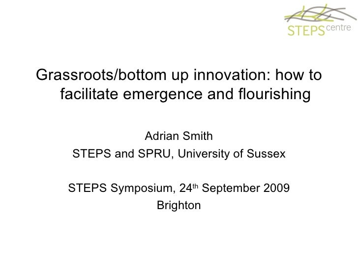 <ul><li>Grassroots/bottom up innovation: how to facilitate emergence and flourishing </li></ul><ul><li>Adrian Smith </li><...