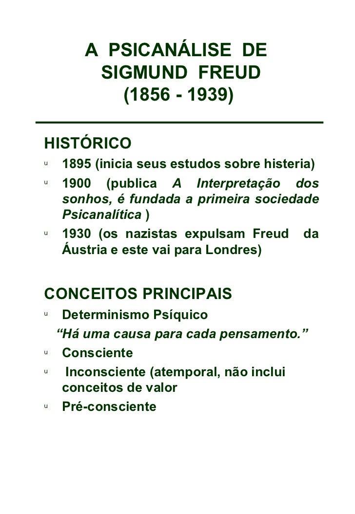 A  PSICANÁLISE  DE   SIGMUND  FREUD (1856 - 1939) <ul><li>HISTÓRICO </li></ul><ul><li>1895 (inicia seus estudos sobre hist...