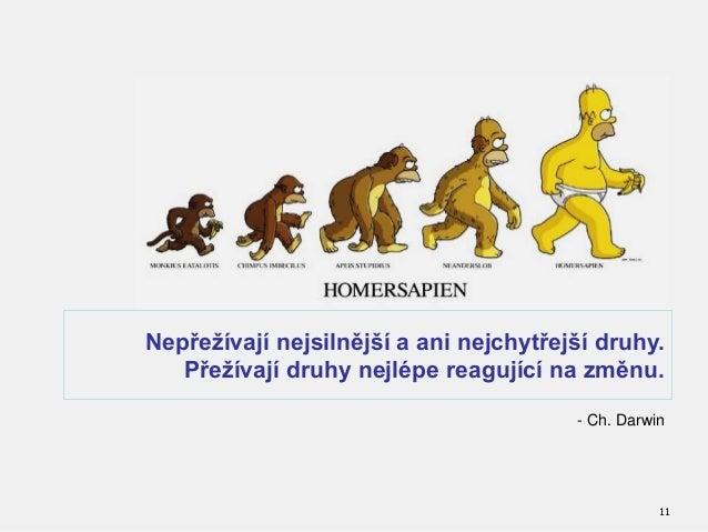 11 - Ch. Darwin Nepřežívají nejsilnější a ani nejchytřejší druhy. Přežívají druhy nejlépe reagující na změnu.