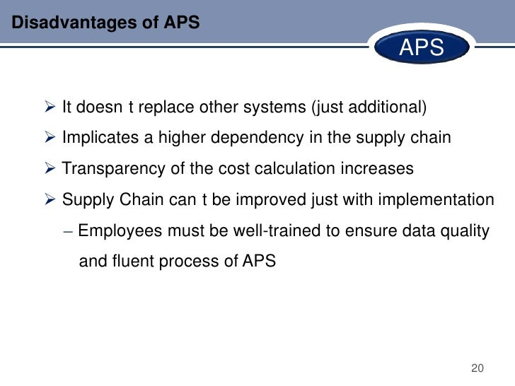 Disadvantages of APS                                                   APS    It doesn t replace other systems (just addi...