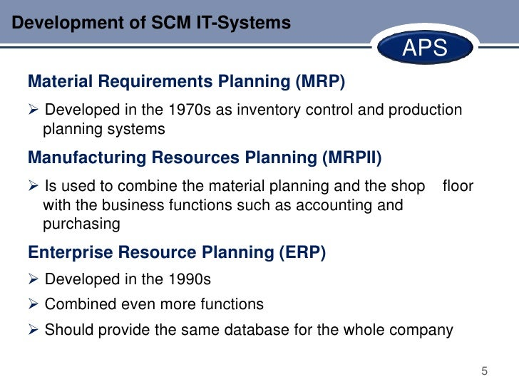 Development of SCM IT-Systems                                                    APS Material Requirements Planning (MRP) ...