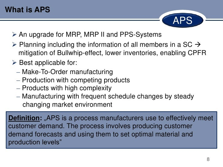 What is APS                                                      APS  An upgrade for MRP, MRP II and PPS-Systems  Planni...
