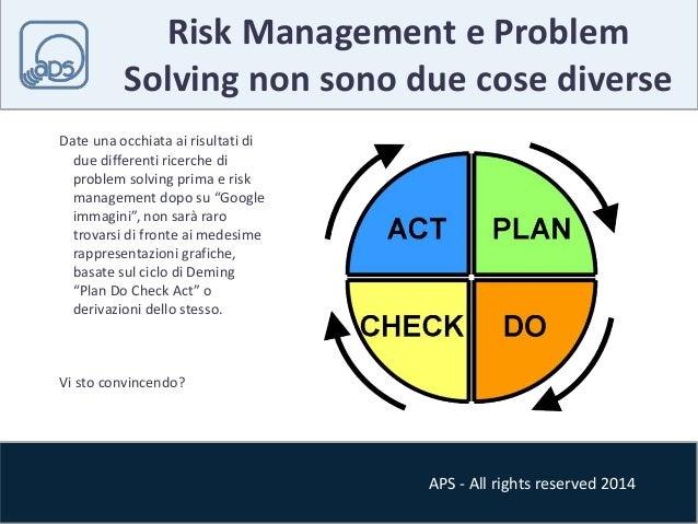 Risk Management e Problem  Solving non sono due cose diverse  APS - All rights reserved 2014  Date una occhiata ai risulta...