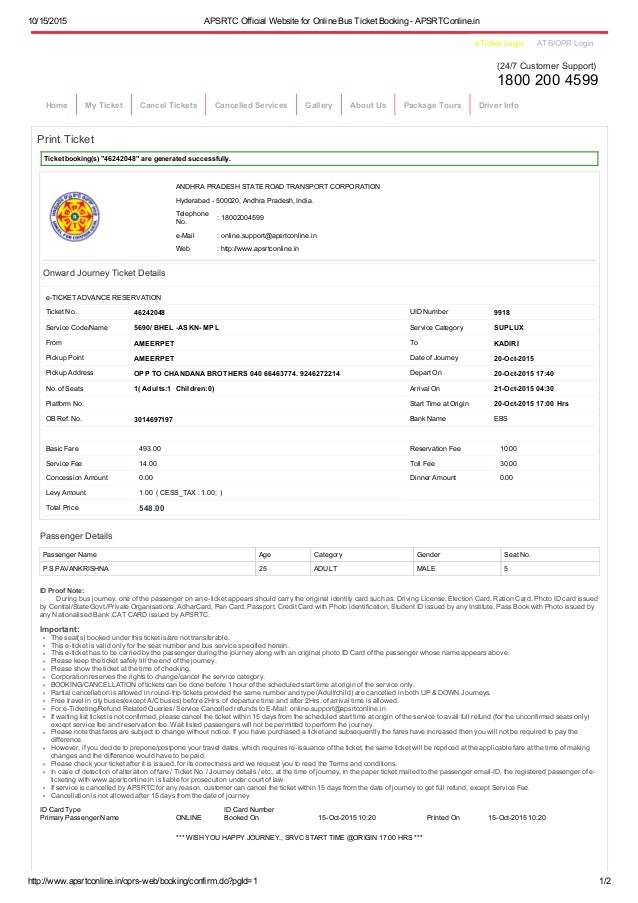 Apsrtc official website for online bus ticket booking apsrt conline – Redbus Ticket Print