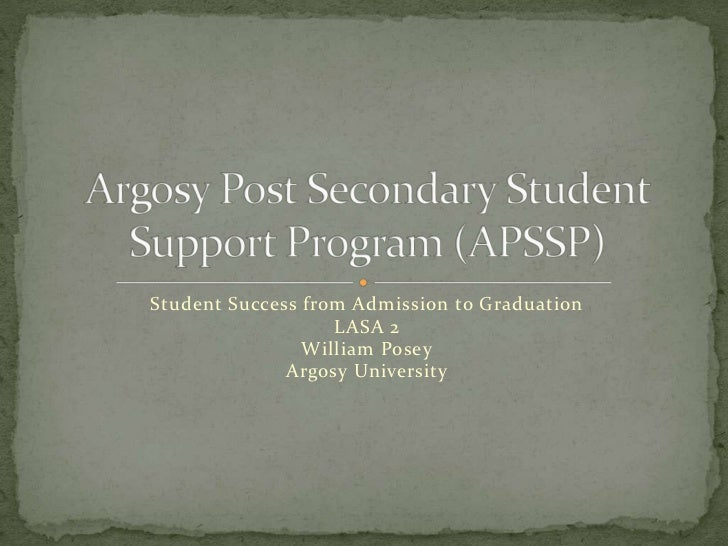 Student Success from Admission to Graduation                   LASA 2                William Posey              Argosy Uni...