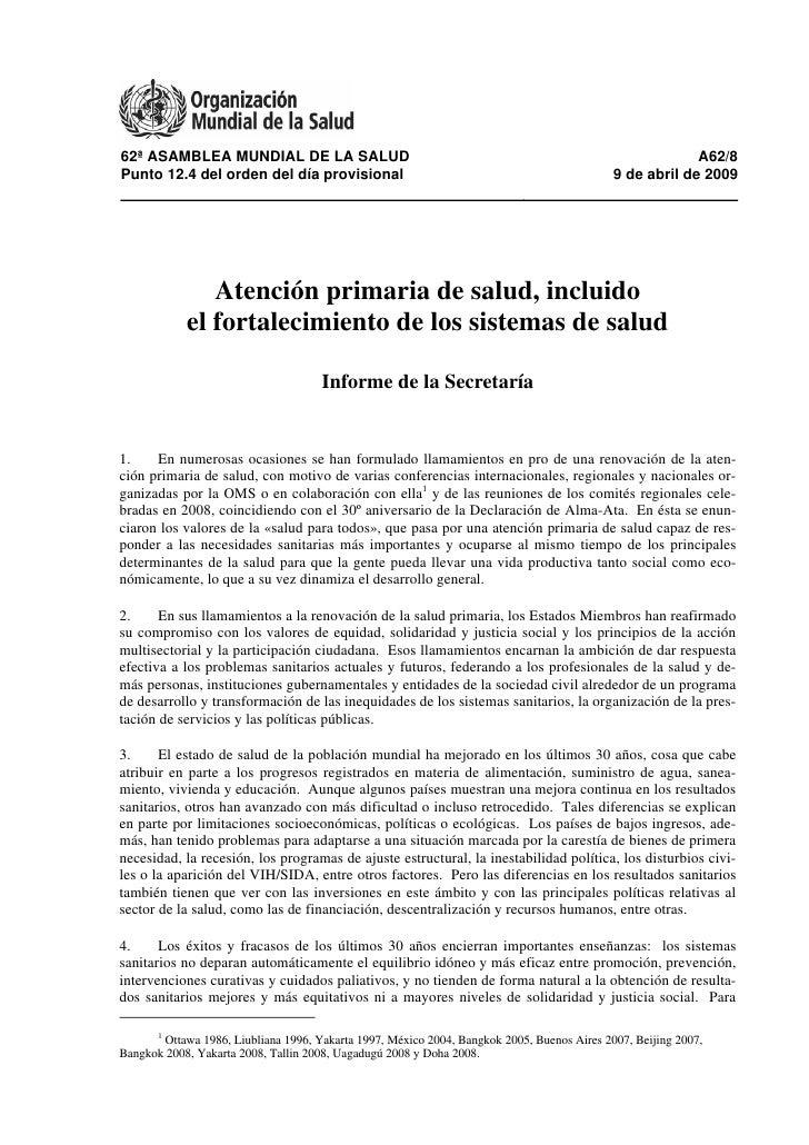 62ª ASAMBLEA MUNDIAL DE LA SALUD                                                                          A62/8 Punto 12.4...