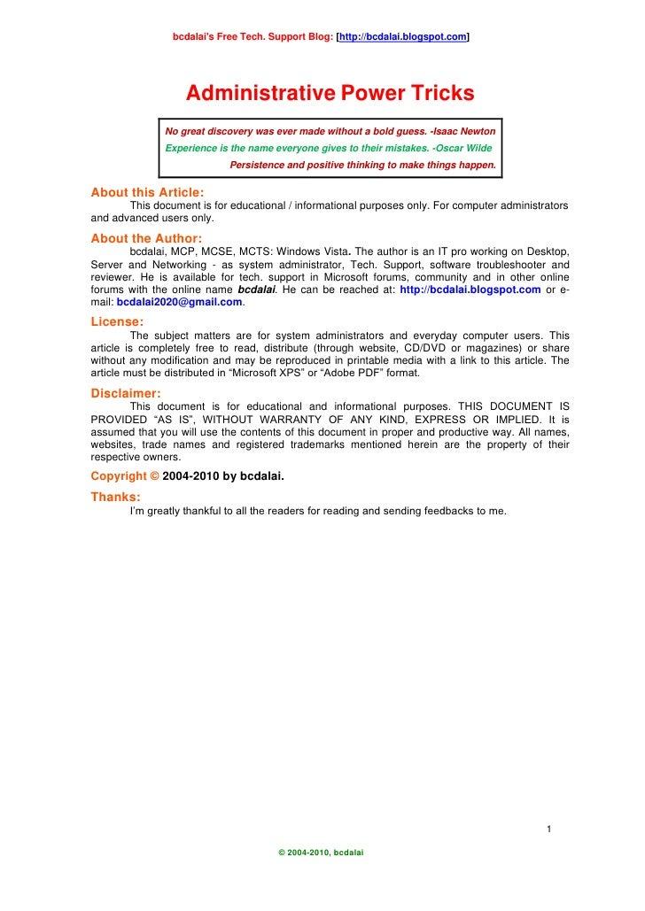 bcdalai's Free Tech. Support Blog: [http://bcdalai.blogspot.com]                        Administrative Power Tricks       ...