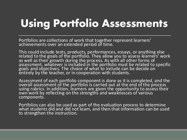 writing essays and creating portfolios are what type of assessment quizlet Getting started with student portfolios class by creating a top notch writing portfolio while they are development of a student portfolio assessment.