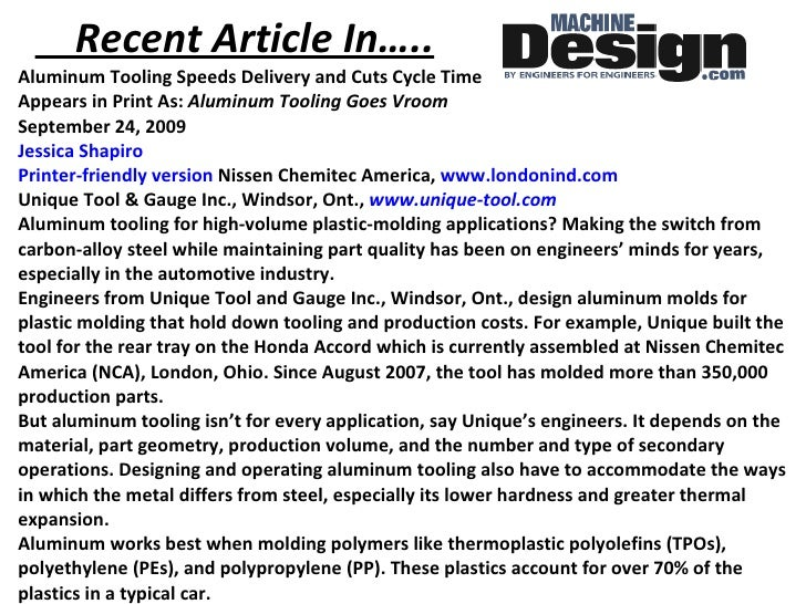 Recent Article In….. <ul><li>Aluminum Tooling Speeds Delivery and Cuts Cycle Time Appears in Print As:  Aluminum Tooling G...