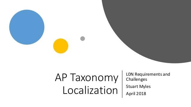 AP Taxonomy Localization L0N Requirements and Challenges Stuart Myles April 2018
