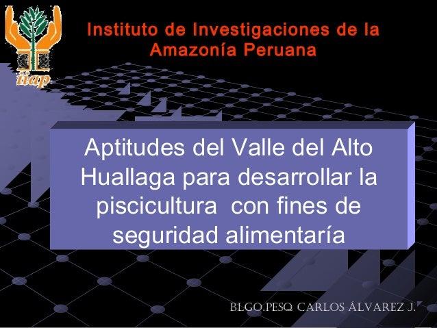 Aptitudes del Valle del Alto Huallaga para desarrollar la piscicultura con fines de seguridad alimentaría Instituto de Inv...