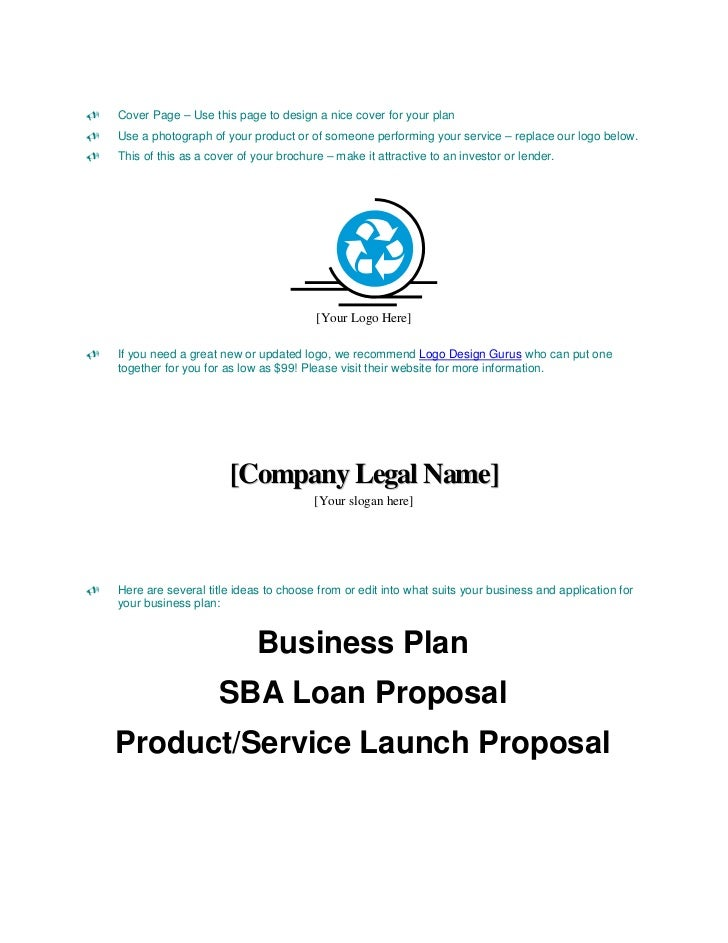 business plan sample cover page