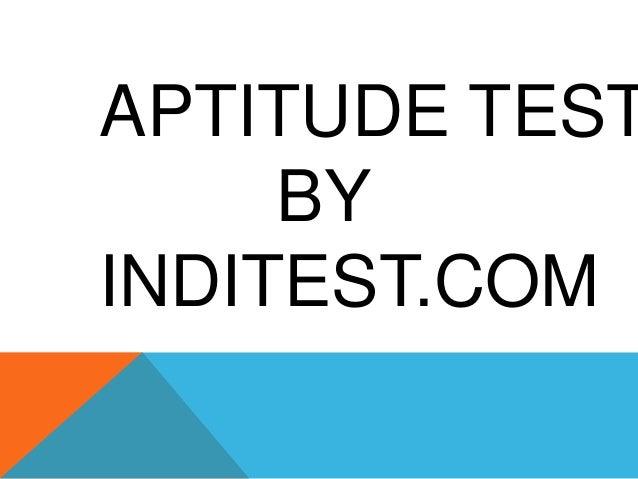 APTITUDE TEST BY INDITEST.COM
