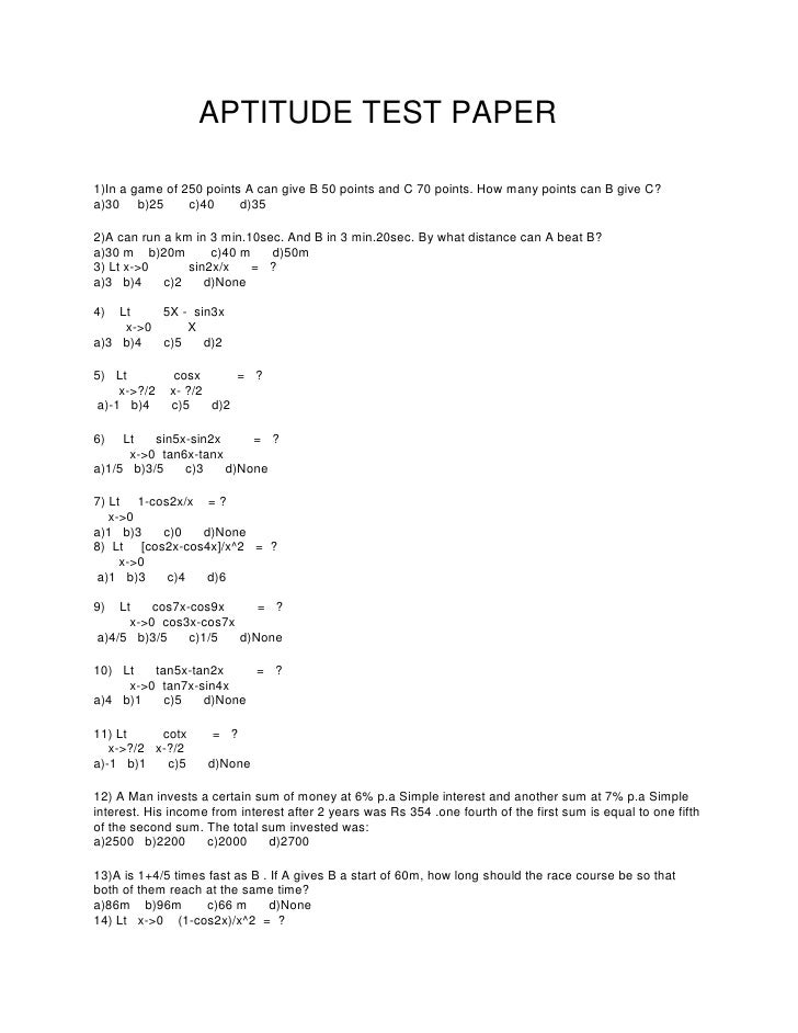 Aptitude test paper