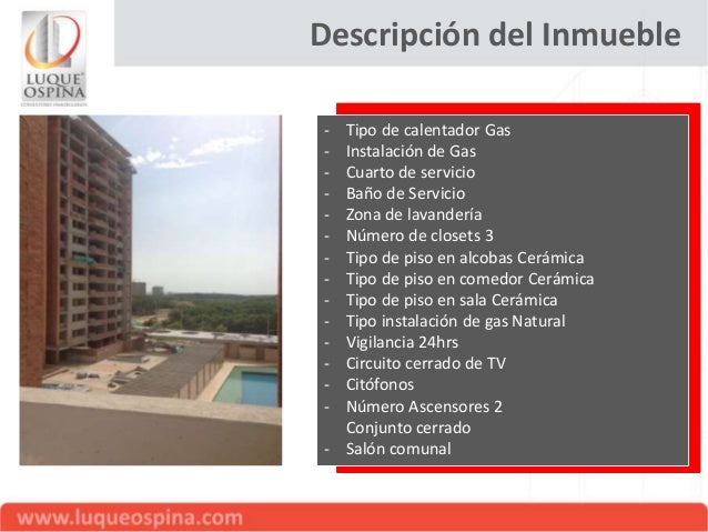 Descripción del Inmueble -  Garaje cubierto Parqueadero visitantes Depósito o cuarto útil Zona para Niños Piscina Gimnasio...