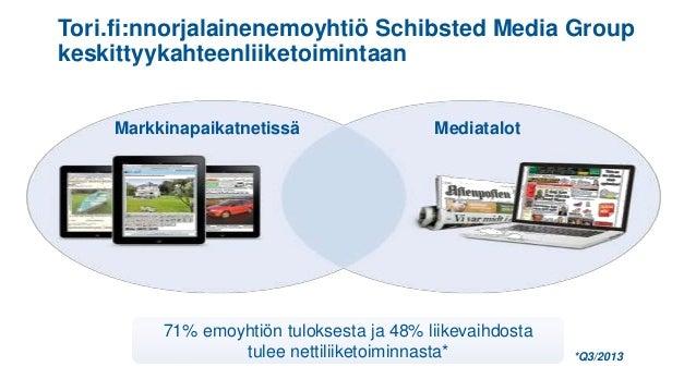 Tori.fi:nnorjalainenemoyhtiö Schibsted Media Group keskittyykahteenliiketoimintaan Markkinapaikatnetissä  Mediatalot  71% ...