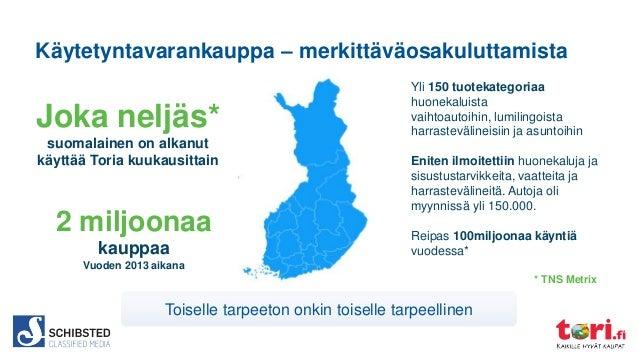Käytetyntavarankauppa – merkittäväosakuluttamista  Joka neljäs* suomalainen on alkanut käyttää Toria kuukausittain  2 milj...