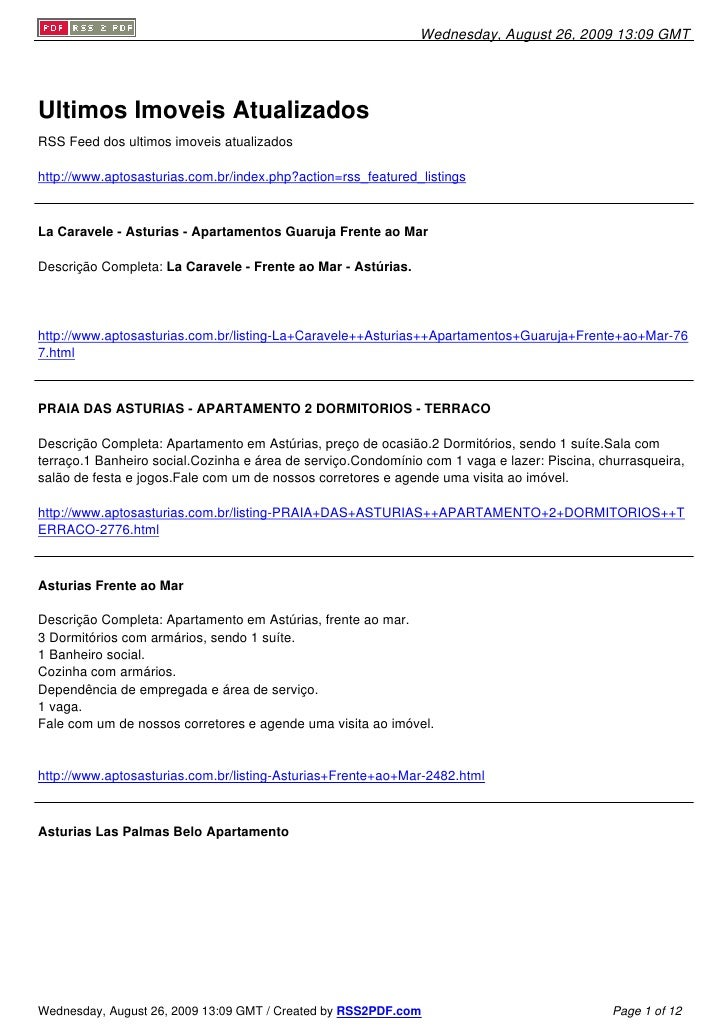 Wednesday, August 26, 2009 13:09 GMT     Ultimos Imoveis Atualizados RSS Feed dos ultimos imoveis atualizados  http://www....