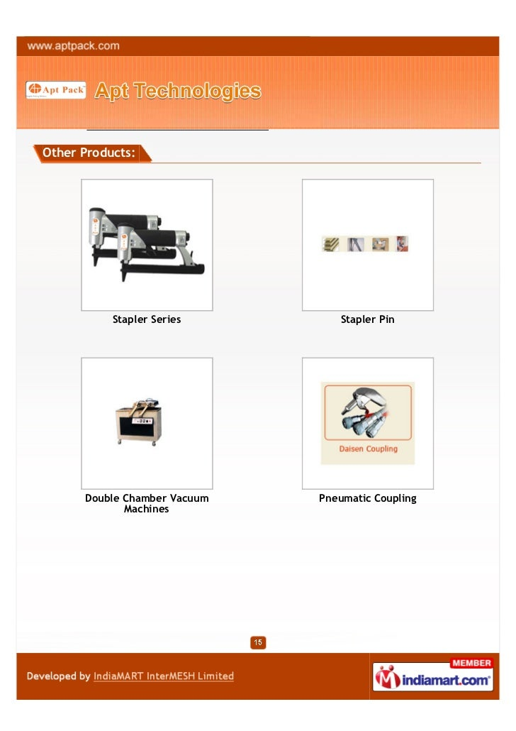 Other Products:           Stapler Series         Stapler Pin      Double Chamber Vacuum   Pneumatic Coupling             M...