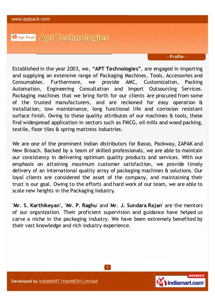 """- Profile -Established in the year 2003, we, """"APT Technologies"""", are engaged in importingand supplying an extensive range ..."""