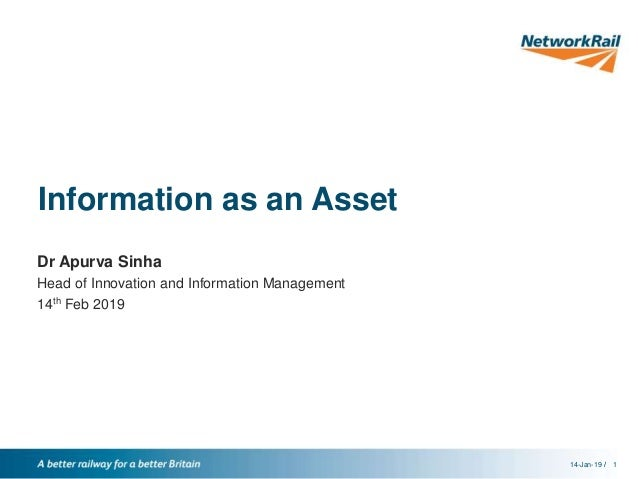 //14-Jan-19 1 Information as an Asset Dr Apurva Sinha Head of Innovation and Information Management 14th Feb 2019