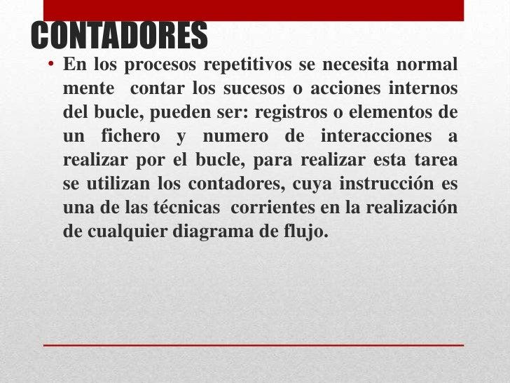CONTADORES <br />En los procesos repetitivos se necesita normal mente  contar los sucesos o acciones internos  del bucle, ...