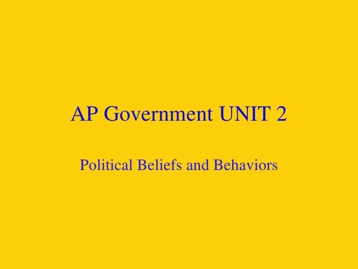 AP Government UNIT 2 Political Beliefs and Behaviors