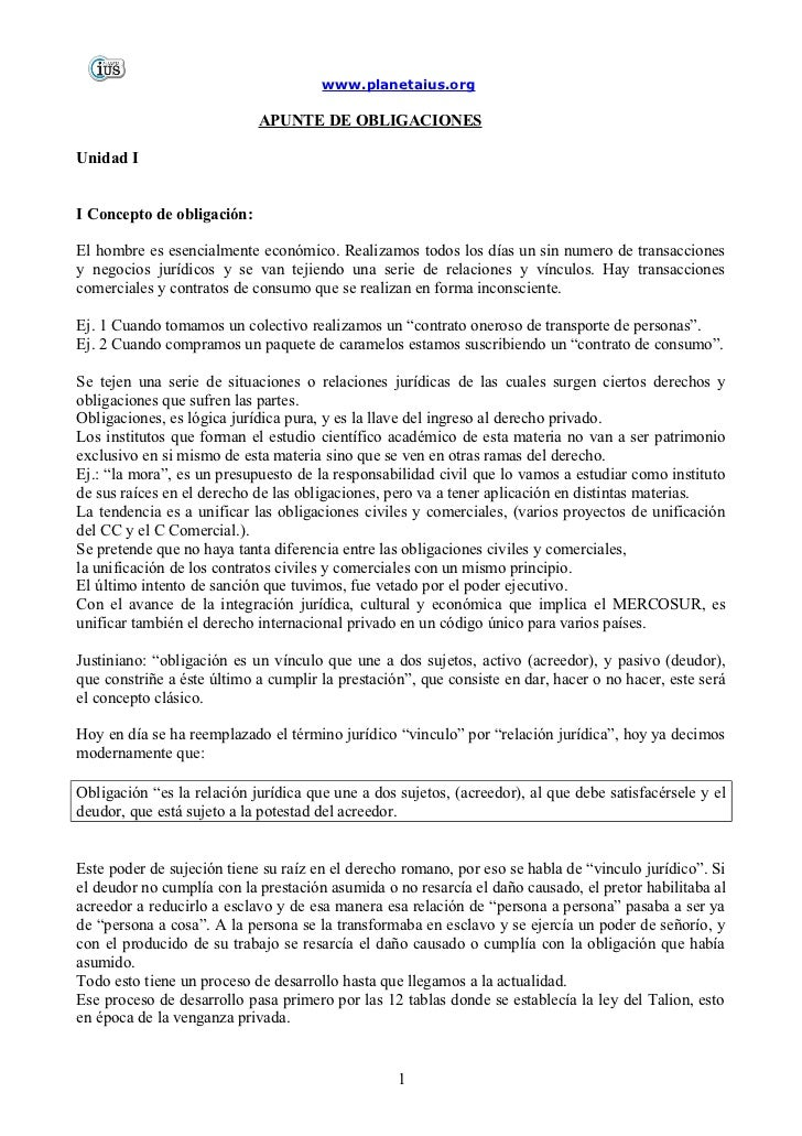 www.planetaius.org                            APUNTE DE OBLIGACIONESUnidad II Concepto de obligación:El hombre es esencial...