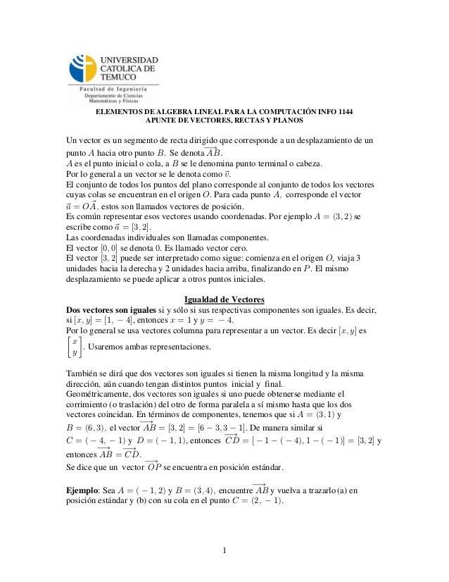 ELEMENTOS DE ALGEBRA LINEAL PARA LA COMPUTACIÓN INFO 1144                  APUNTE DE VECTORES, RECTAS Y PLANOSUn vector es...