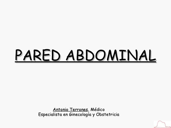 Antonio Terrones , Médico Especialista en Ginecología y Obstetricia PARED ABDOMINAL
