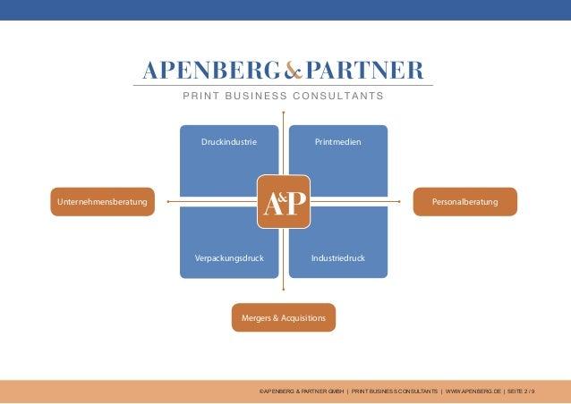 © APENBERG & PARTNER GMBH   PRINT BUSINESS CONSULTANTS   WWW.APENBERG.DE   SEITE 2 / 9 Druckindustrie Unternehmensberatung...