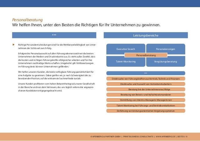 © APENBERG & PARTNER GMBH   PRINT BUSINESS CONSULTANTS   WWW.APENBERG.DE   SEITE 5 / 9 Personalberatung Wir helfen Ihnen, ...