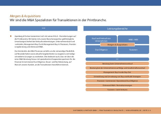 © APENBERG & PARTNER GMBH   PRINT BUSINESS CONSULTANTS   WWW.APENBERG.DE   SEITE 6 / 9 Mergers & Acquisitions Wir sind die...