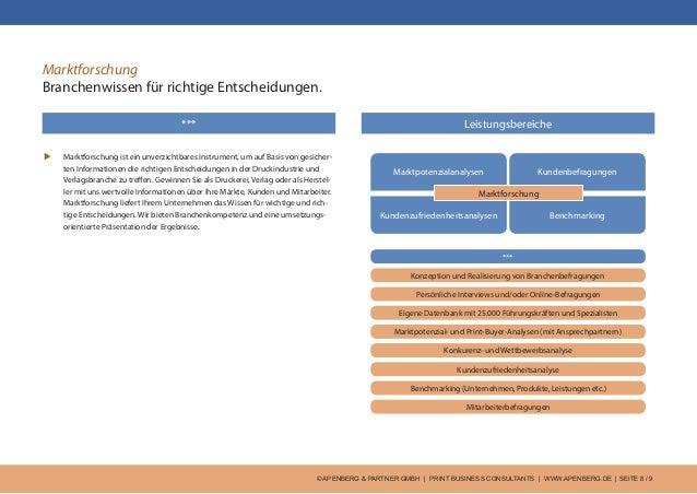 © APENBERG & PARTNER GMBH   PRINT BUSINESS CONSULTANTS   WWW.APENBERG.DE   SEITE 8 / 9 *** Marktforschung Branchenwissen f...