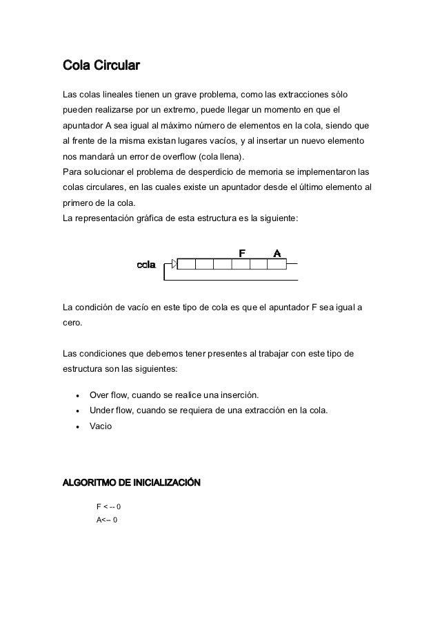 Cola CircularLas colas lineales tienen un grave problema, como las extracciones sólopueden realizarse por un extremo, pued...