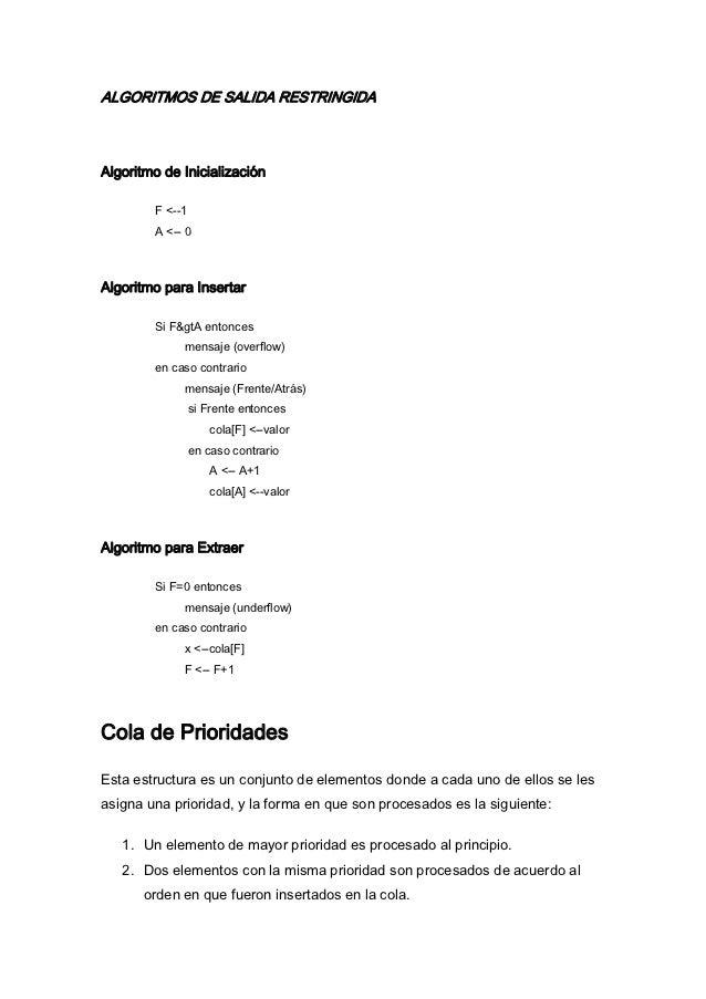 ALGORITMOS DE SALIDA RESTRINGIDAAlgoritmo de Inicialización        F <--1        A <-- 0Algoritmo para Insertar        Si ...