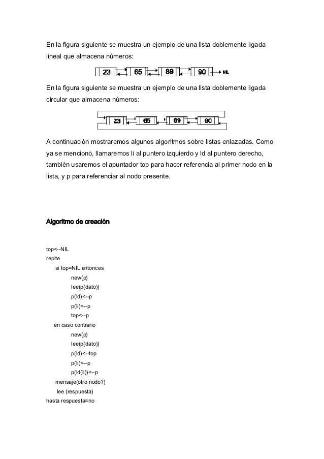 En la figura siguiente se muestra un ejemplo de una lista doblemente ligadalineal que almacena números:En la figura siguie...