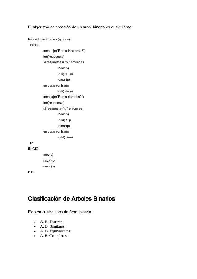 """El algoritmo de creación de un árbol binario es el siguiente:Procedimiento crear(q:nodo) inicio            mensaje(""""Rama i..."""