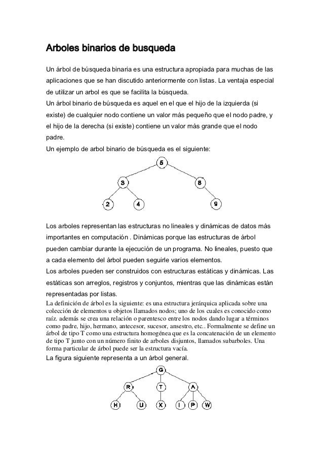 Arboles binarios de busquedaUn árbol de búsqueda binaria es una estructura apropiada para muchas de lasaplicaciones que se...