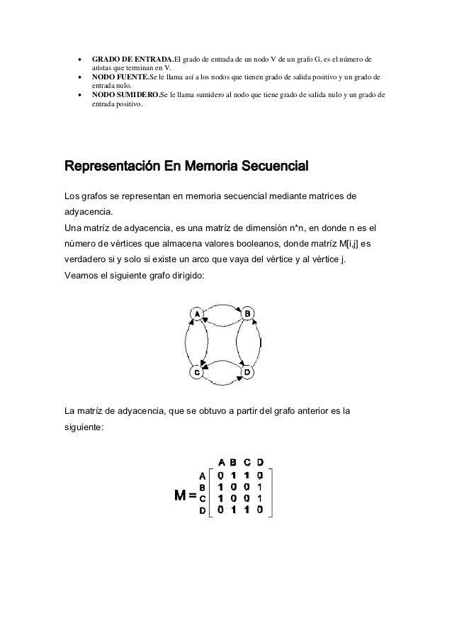 •   GRADO DE ENTRADA.El grado de entrada de un nodo V de un grafo G, es el número de       aristas que terminan en V.   • ...